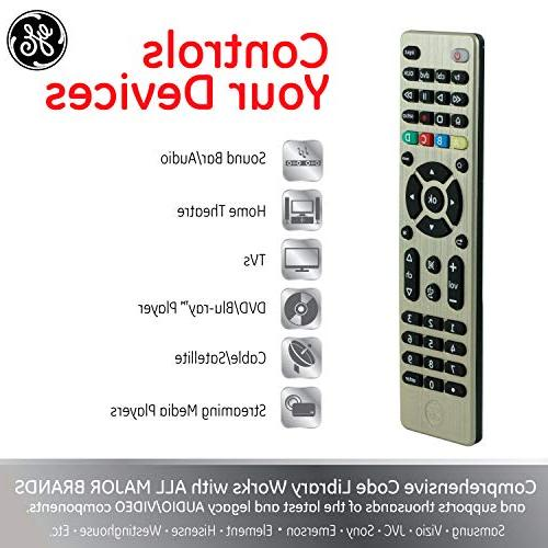 GE 4 Universal Remote, Works Smart TVs, Lg, Blu Ray, DVD, Roku, Apple TV, and Streaming Auto Scan, for Samsung 33710