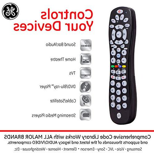 Remote, Compact Works with TVs, Sony, Simple Samsung TVs, Black, 34459