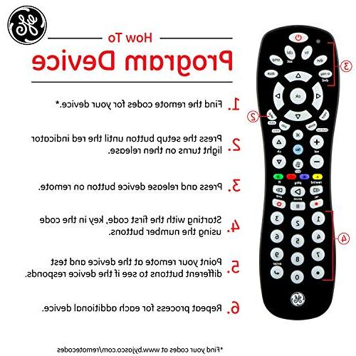 GE 6 Universal Remote, with Smart Sony, Blu Ray, DVR, Streaming Players, Simple Pre-Programmed for Samsung