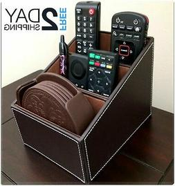 Remote Control Mail Phone Organizer Leather Storage Holder B