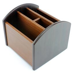 Revolving Wooden TV Remote Control Caddy; 4 Compartments Org