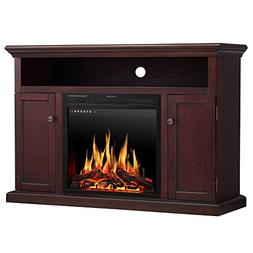 JAMFLY Wood Electric Fireplace Mantel TV Stand for TV Up to